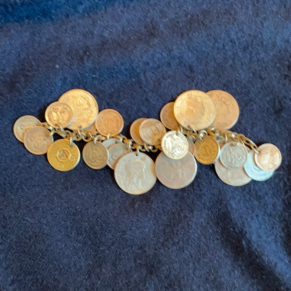 Monet Vintage coin and token bracelet.